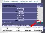 teacher principal raw score model sample