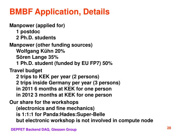 BMBF Application, Details