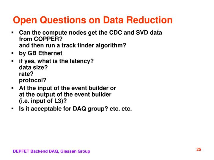 Open Questions on Data Reduction