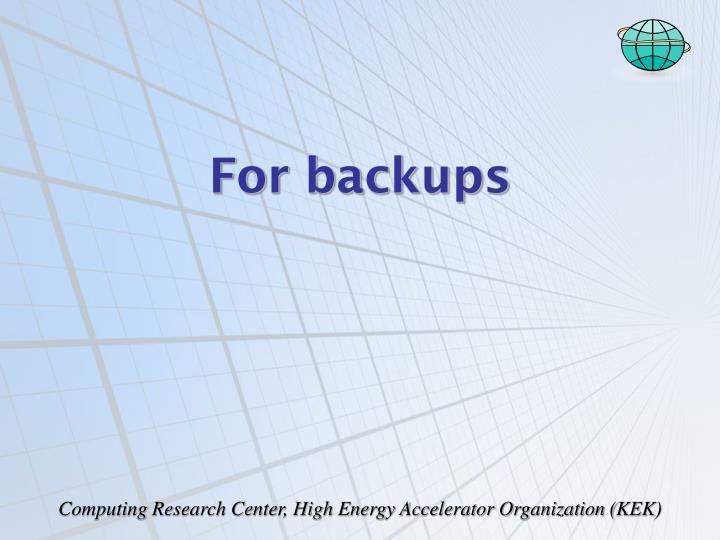 For backups