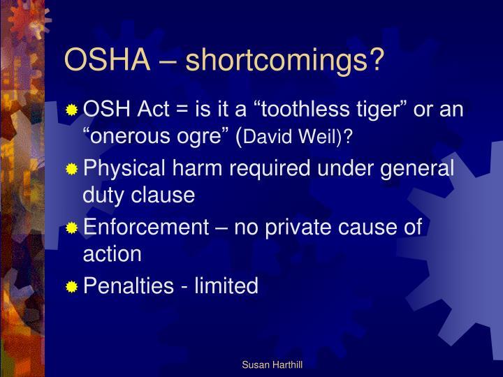 OSHA – shortcomings?