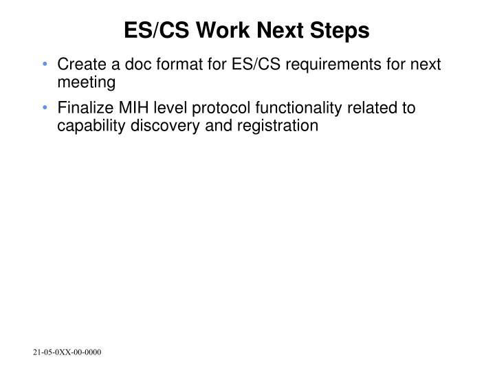 ES/CS Work Next Steps