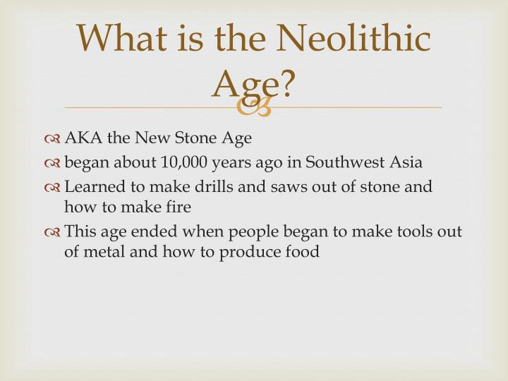 What is the Neolithic Age?