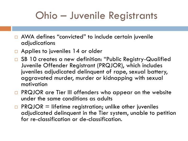Ohio – Juvenile Registrants