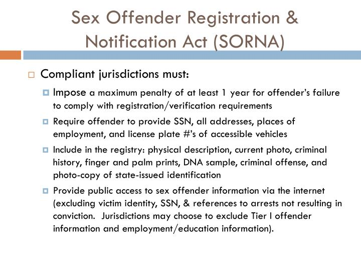 Sex offender registration notification act sorna