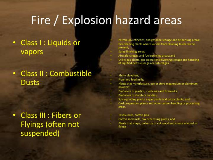 Fire / Explosion hazard areas