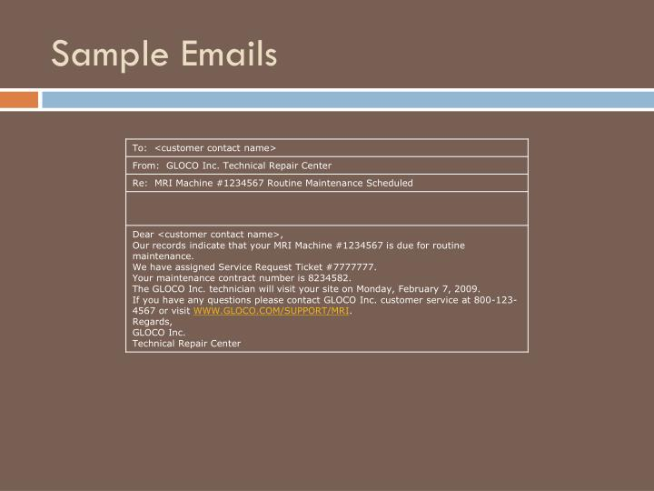 Sample Emails