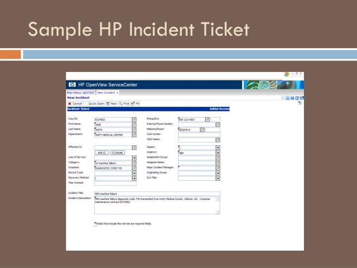 Sample HP Incident Ticket