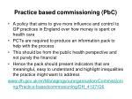practice based commissioning pbc