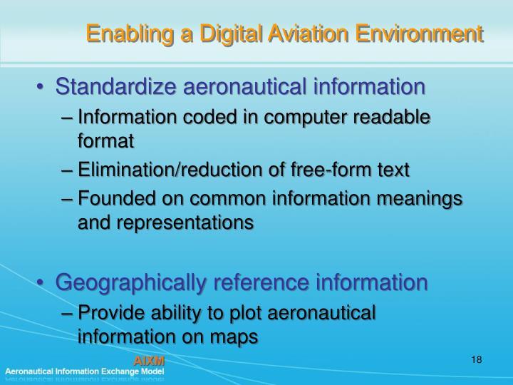 Enabling a Digital Aviation Environment
