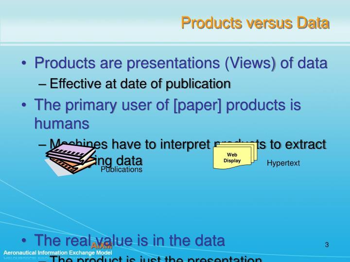 Products versus data