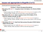 issues not appropriate to bugzilla 2 of 2