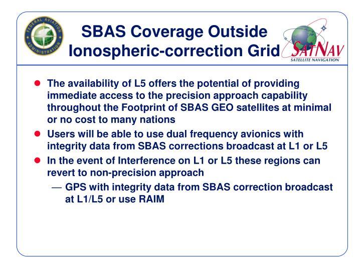SBAS Coverage Outside Ionospheric-correction Grid
