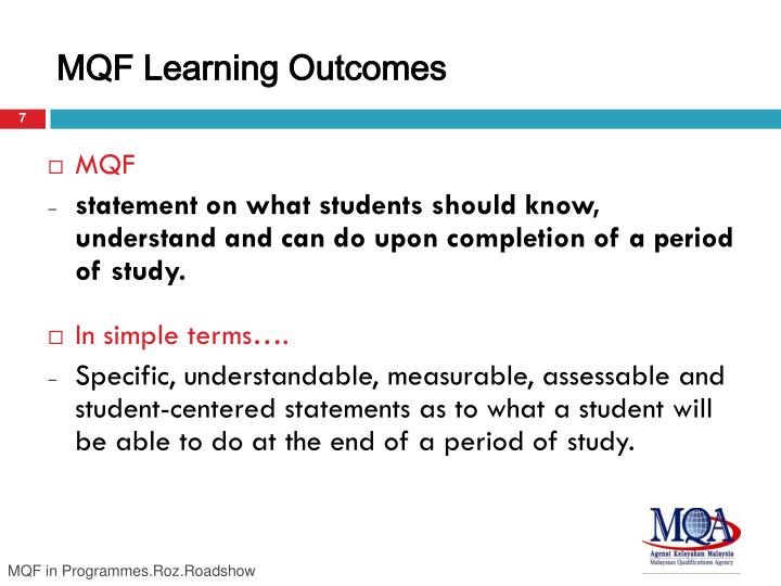 MQF Learning Outcomes