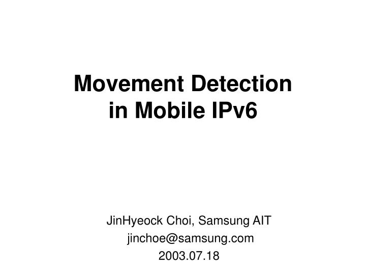 movement detection in mobile ipv6 n.