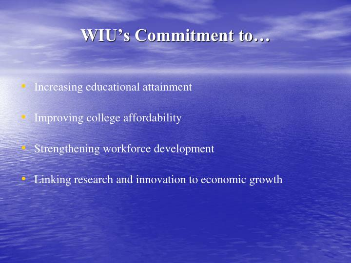 WIU's Commitment to…
