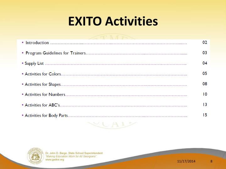 EXITO Activities
