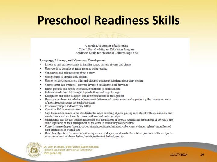 Preschool Readiness Skills
