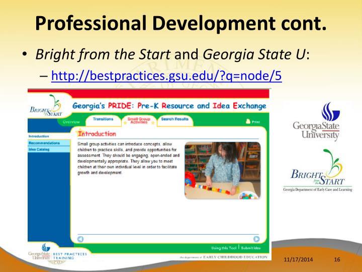 Professional Development cont.