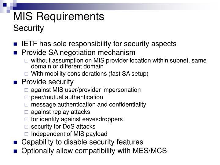 MIS Requirements