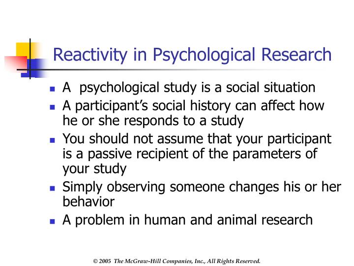 Reactivity in Psychological Research