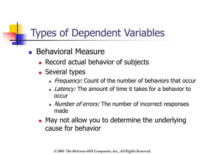 Types of Dependent Variables