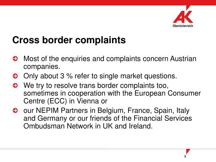 Cross border complaints