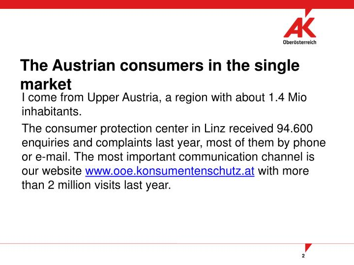 The austrian consumers in the single market
