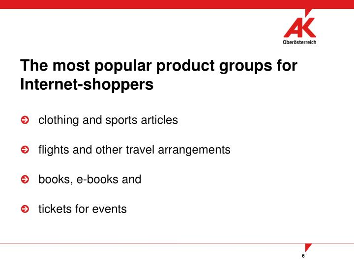 The most popular product groups for Internet-shoppers