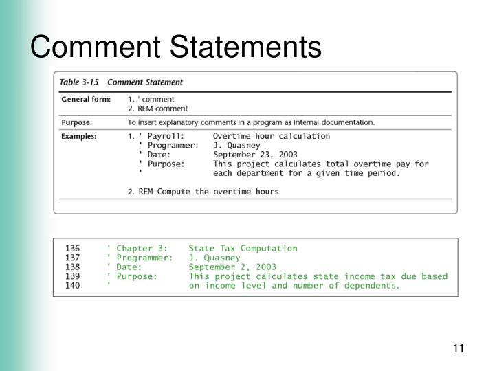 Comment Statements