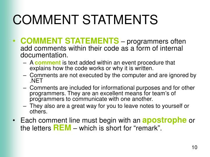 COMMENT STATMENTS