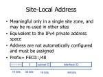 site local address