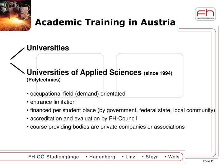 Academic training in austria