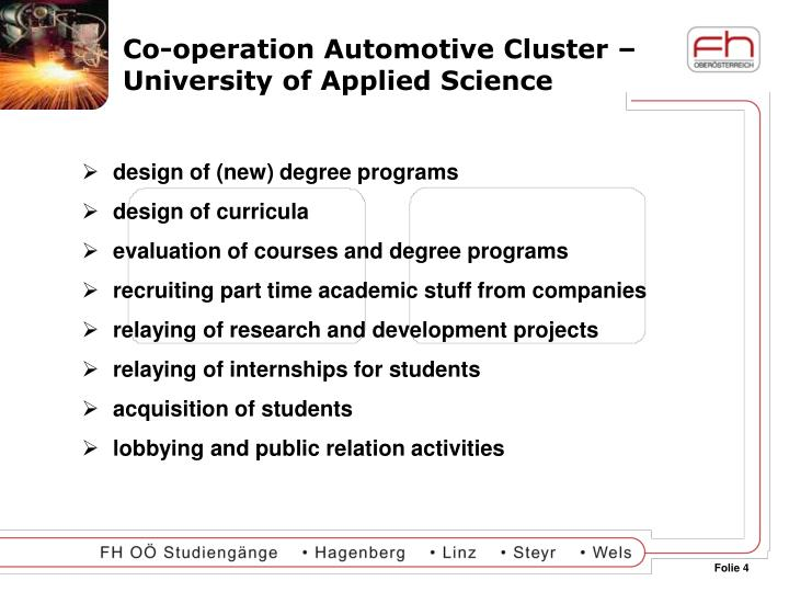 Co-operation Automotive Cluster – University of Applied Science