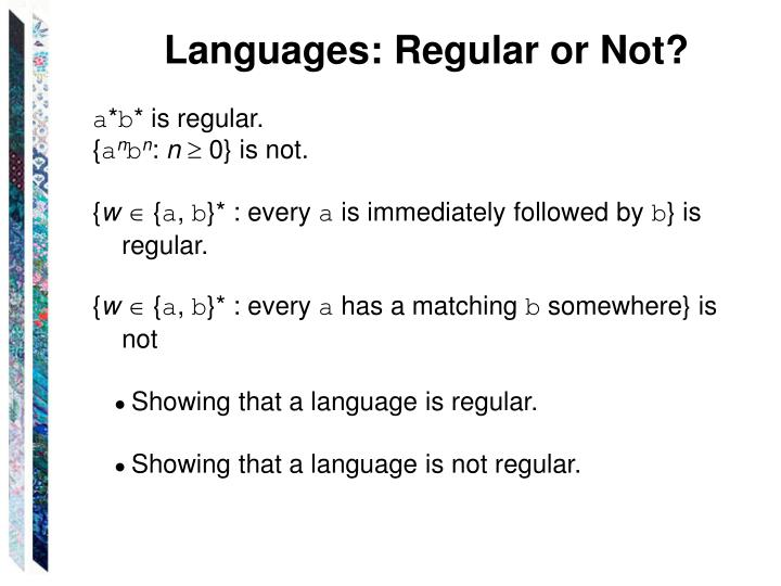 Languages: Regular or Not?