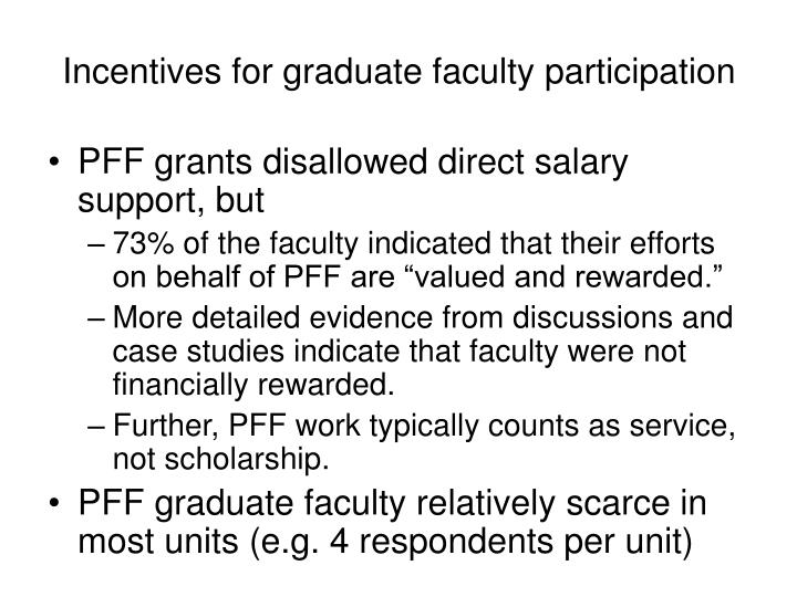 Incentives for graduate faculty participation