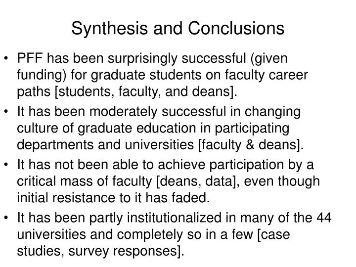 Synthesis and Conclusions