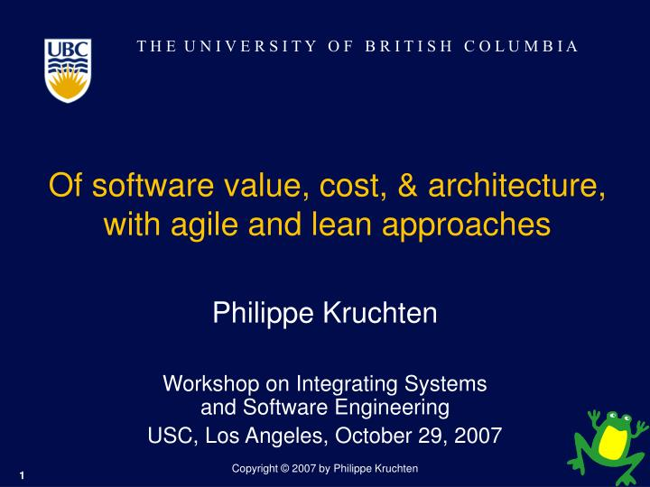 Of software value cost architecture with agile and lean approaches