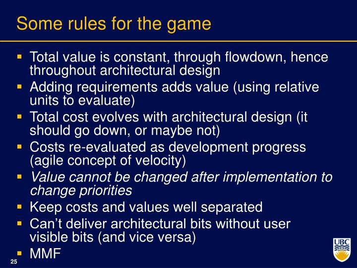 Some rules for the game