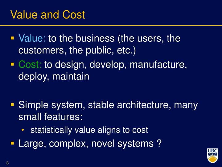 Value and Cost