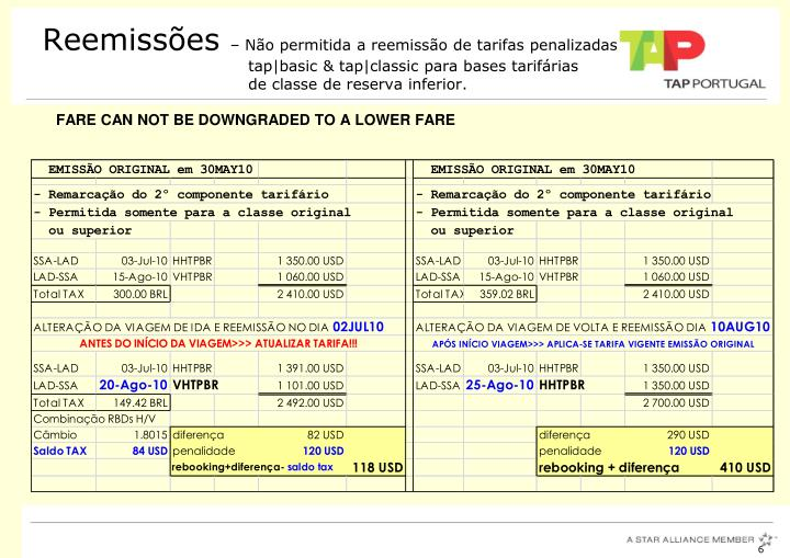 FARE CAN NOT BE DOWNGRADED TO A LOWER FARE