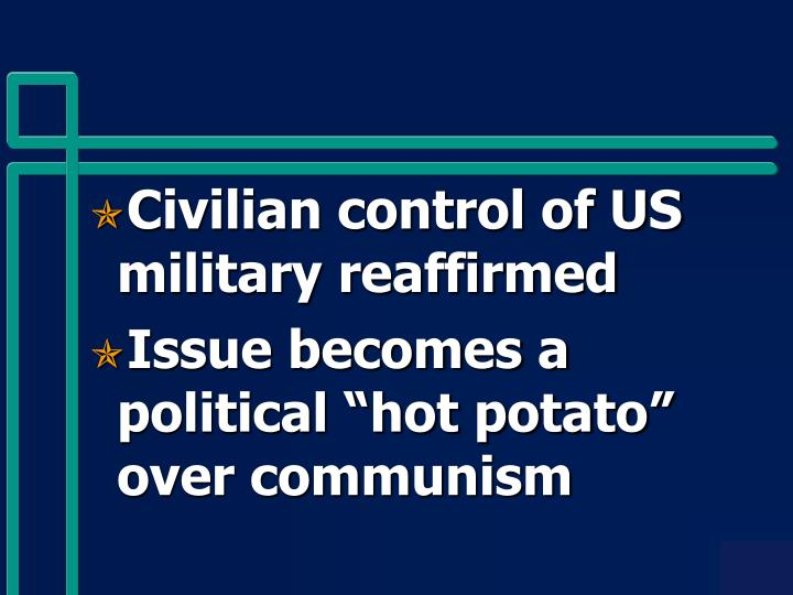 Civilian control of US military reaffirmed