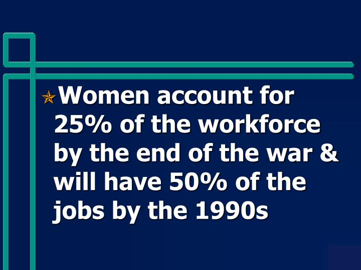 Women account for 25% of the workforce by the end of the war & will have 50% of the jobs by the 1990s