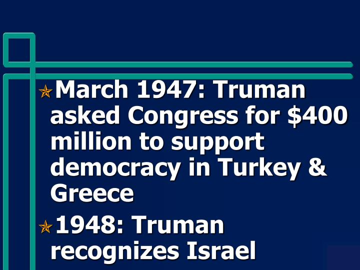 March 1947: Truman asked Congress for $400 million to support democracy in Turkey & Greece