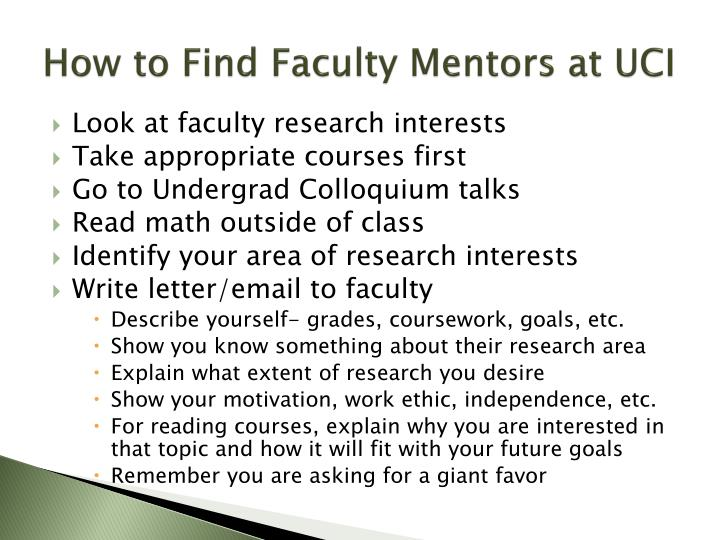 How to Find Faculty Mentors at UCI