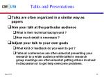 talks and presentations