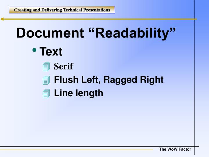 "Document ""Readability"""