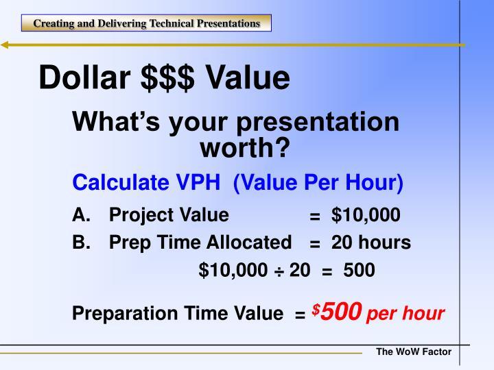 Dollar $$$ Value