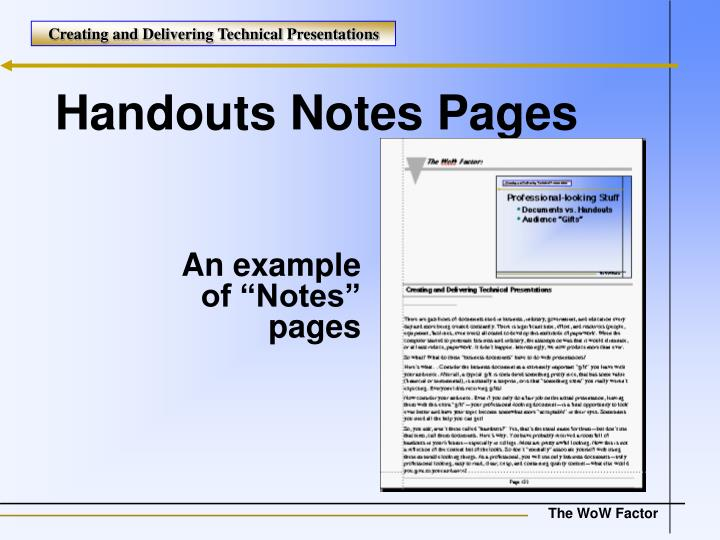 Handouts Notes Pages