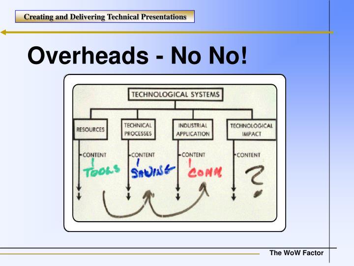 Overheads - No No!